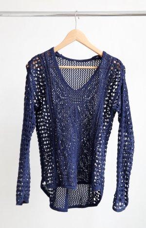 Top en maille crochet bleu coton