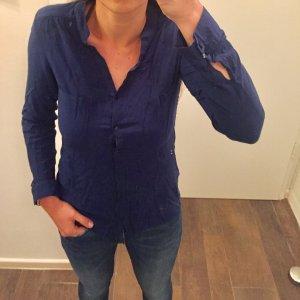 Oberteil Hemd Bluse langärmlig mit Knöpfen blau tailliert