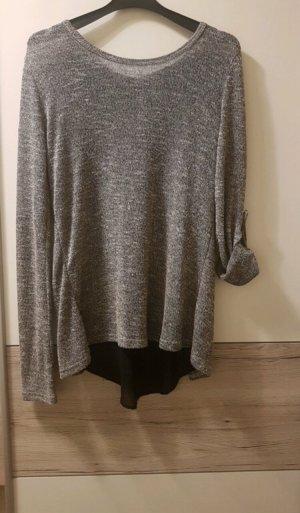 Grof gebreide trui zwart-grijs