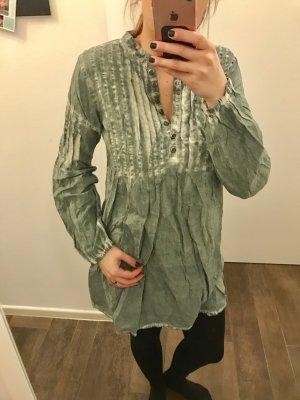 Oberteil lang Tunika Kleid grün langärmlig locker Boho Waschung