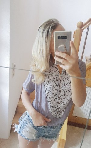 100% Fashion T-shirt wit-grijs