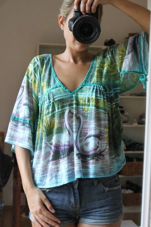 Custo Barcelona Kimono blouse veelkleurig Gemengd weefsel