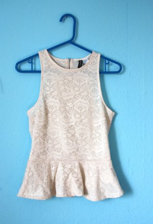 H&M Lace Top cream-oatmeal