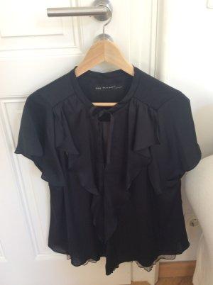 Zara Camicetta a blusa nero-marrone-grigio Tessuto misto