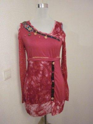 Batik shirt magenta-lichtroze Katoen