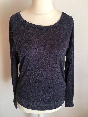 Oberteil Pulli Shirt Longsleeve Basic dunkelblau meliert TOP