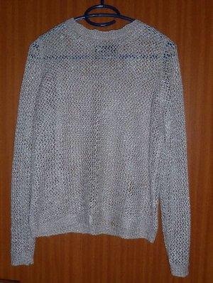 Oberteil Pullover Taupe Gr. 34 XS Primark Lurex Sommerpullover