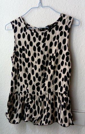 H&M Mouwloze blouse wit-zwart Viscose