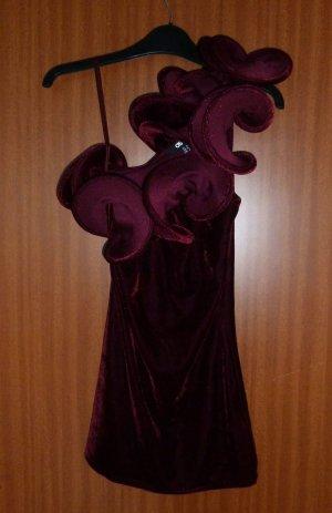 Oberteil Samt Top Asos 36 38 S bordeaux rot Volants One-Shoulder Velvet Neu