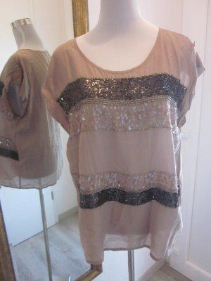 Oberteil Shirt bestickt mit Perlen & Pailletten Schlammfarben Festlich Gr L