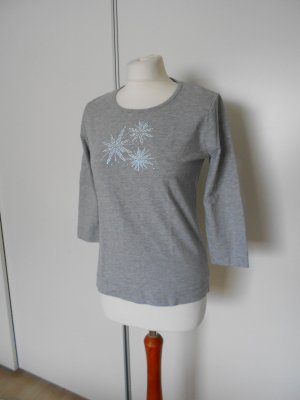 Oberteil Shirt dreiviertelarm grau glitzer