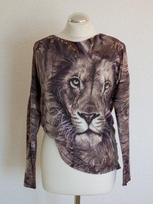 Oberteil Shirt mit tollem Löwenmotiv mit Strassteinen Gr. S Italy Fashion!