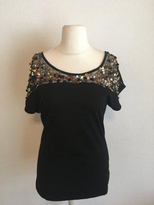 Oberteil Shirt schwarz mit Pailletten Party Gr. M