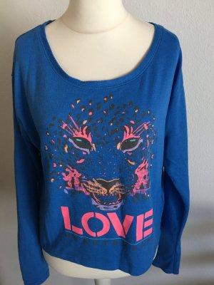 Oberteil Shirt Sweater Oversized bunt hippie mit Print Gr. 38