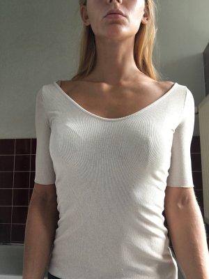 Oberteil Shirt top beige zart eng gerippt figurbetont Ausschnitt u hell Creme plicee