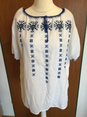 Oberteil Shirt Tunika Bluse weiß mit Stickerei romantisch TOP Unikat