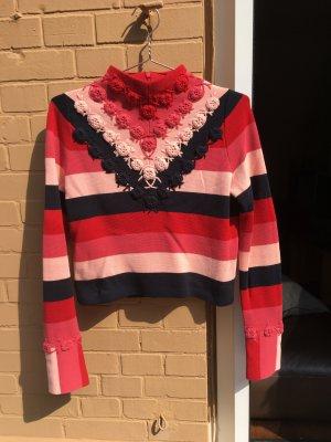 Oberteil Short Pullover cropped streifen gehäkelt Muster rot rosa blau Rollkragen Hippie Festival
