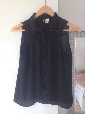 H&M Mouwloze blouse zwart Polyester