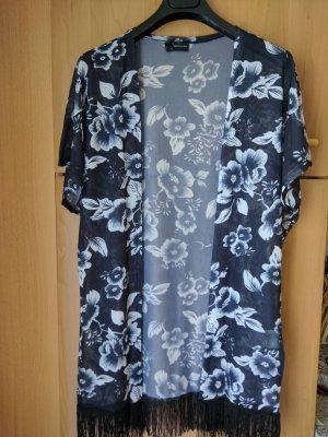 Fringed Vest black-white polyester
