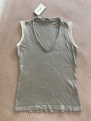 T-shirt col en V gris clair-blanc cachemire