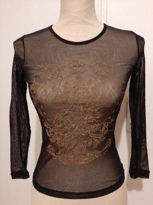 MNG Top de encaje negro-color bronce
