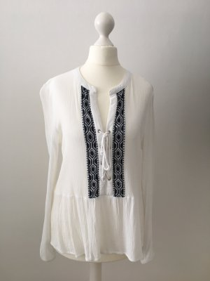 Only Tuniekblouse wit-donkerblauw