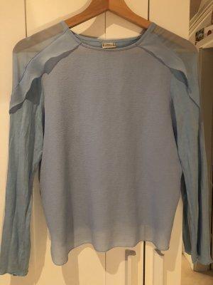 Zara Ruche blouse babyblauw