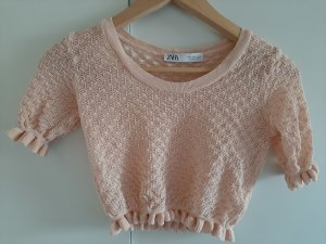 Zara Top en maille crochet rose chair-rosé