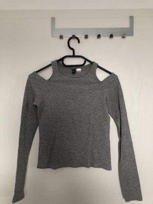 H&M Camisa de un solo hombro gris claro