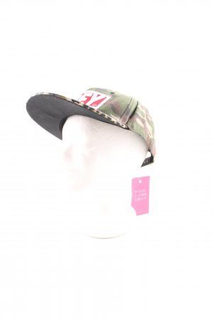 obey Baseball Cap khaki-red animal pattern casual look