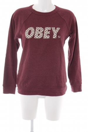 obey Sweatshirt bordeauxrot-creme Schriftzug gedruckt Casual-Look