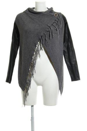Object Cardigan grau-schwarz meliert Casual-Look