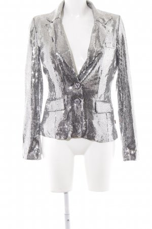 Object Kurz-Blazer silberfarben Glanz-Optik