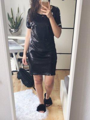 OBJECT Shirtkleid Kleid Pailletten oversized schwarz Gr. S NEU