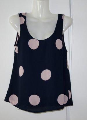 Object süßes Shirt Top navy x altrosa Polka Dots Loose Fit Gr. S/M (36/38)