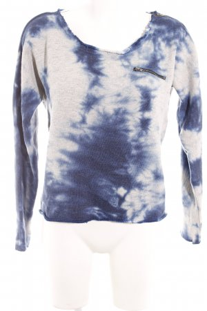 Object Sweatshirt hellgrau-dunkelblau Batikmuster Casual-Look
