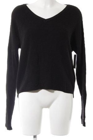 Object V-Ausschnitt-Pullover schwarz Casual-Look