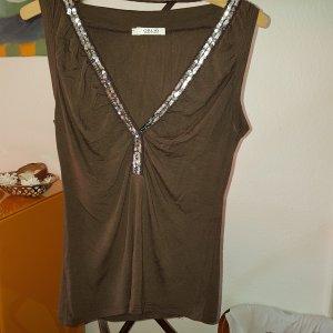 Camisa con cuello V marrón oscuro-color plata Viscosa