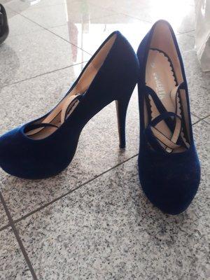 Tacones con cordones negro-azul