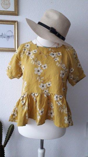Ocker Senfgelb Bluse Shirt Blümchen Print Floral Peplum Spring