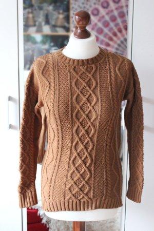 Ockerfarbener Bershka Zopfmuster Cable Knit Pullover Sweater 36 S