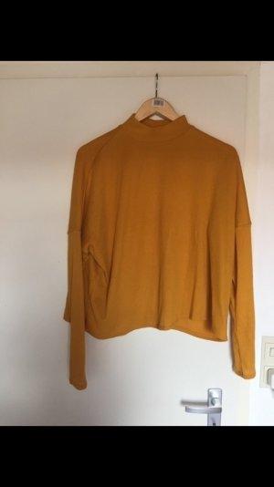 Ockergelber dünner Rollkragen Pullover