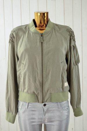 ODD MOLLY Damen Blouson Jacke Oliv-Grün Tencel Bestickt Perlen Gr.1/ 36