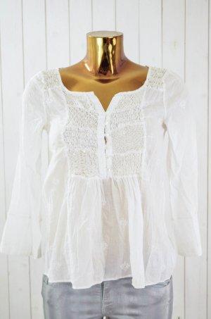 ODD MOLLY Damen Bluse Tunika Kurzarm Baumwolle Weiß Beige Spitze Bestickt Gr.1