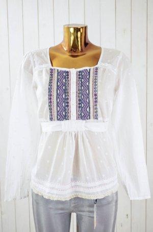 ODD MOLLY Damen Bluse Tunika Langarm Baumwolle Weiß Bunt Bestickt Gr.1/36 Neu!