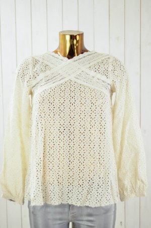 ODD MOLLY Damen Bluse Tunika Lochmuster Spitze Baumwolle Ecru Gr. 1/36