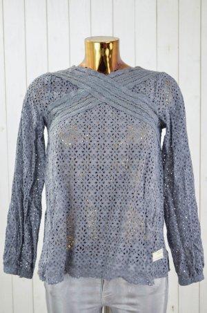 ODD MOLLY Damen Bluse Tunika Lochmuster Spitze Baumwolle Grau Gr. 1/36