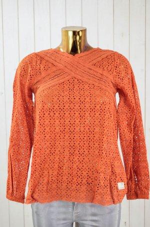 ODD MOLLY Damen Bluse Tunika Lochmuster Spitze Baumwolle Orange Gr. 1/36