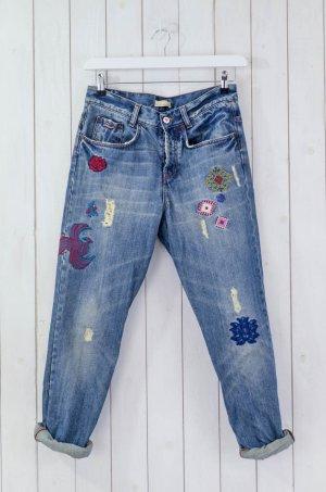 ODD MOLLY Damen Jeans Boyfriend Lässig Bestickt Ethno-Muster Blau Bunt Gr.1/36