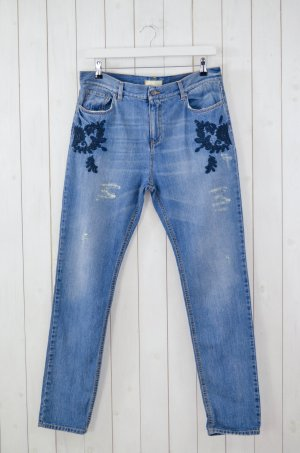 ODD MOLLY Damen Jeans CARROT DENIM Boyfriend Cut Vintage Blue Bestickt Gr. 4/42